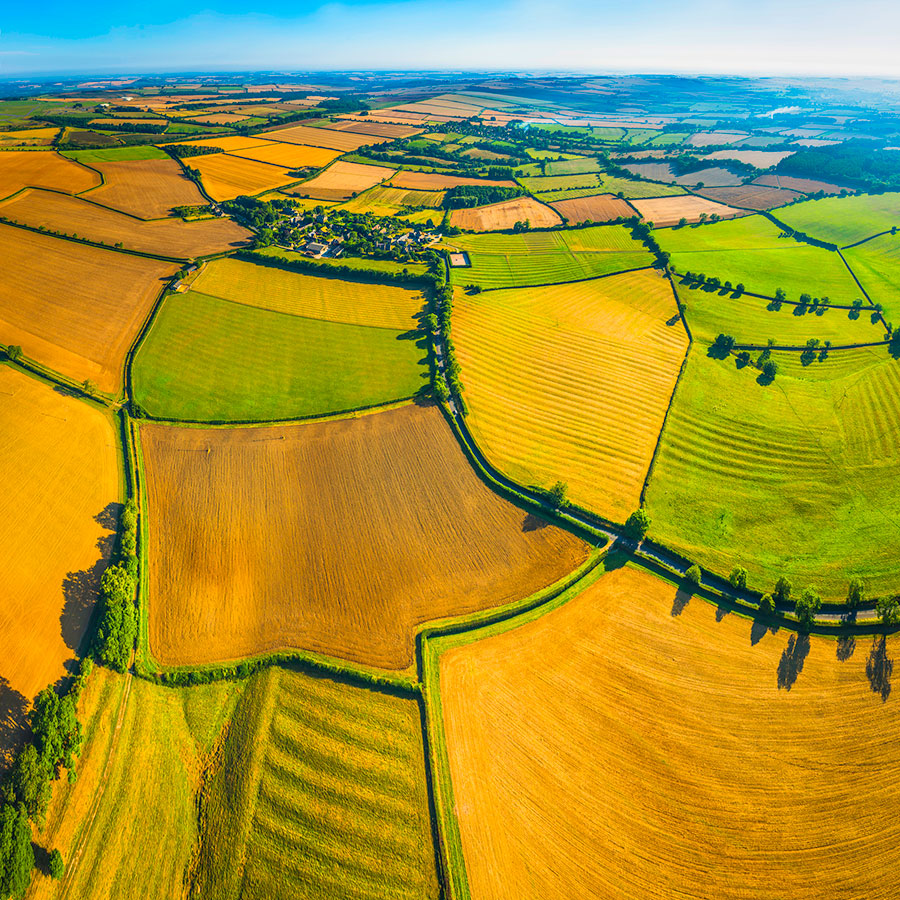 Aerial-view-of-land-lots-over-fields-rural-villages
