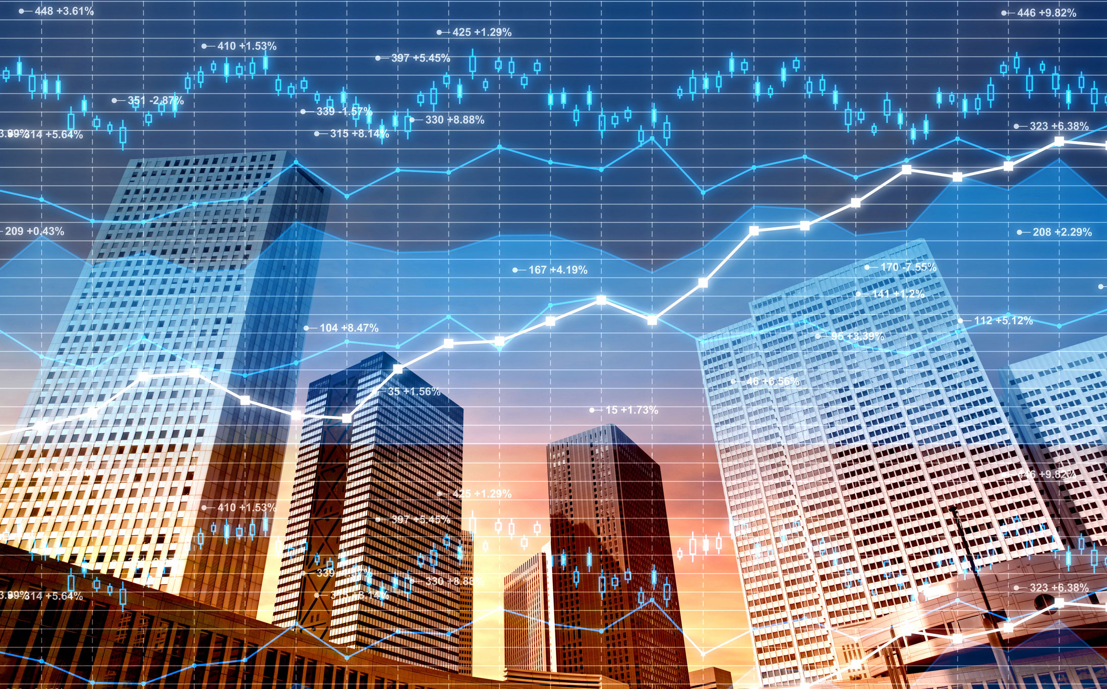 Business-district-stock-market-and-finance-data-on-city-background