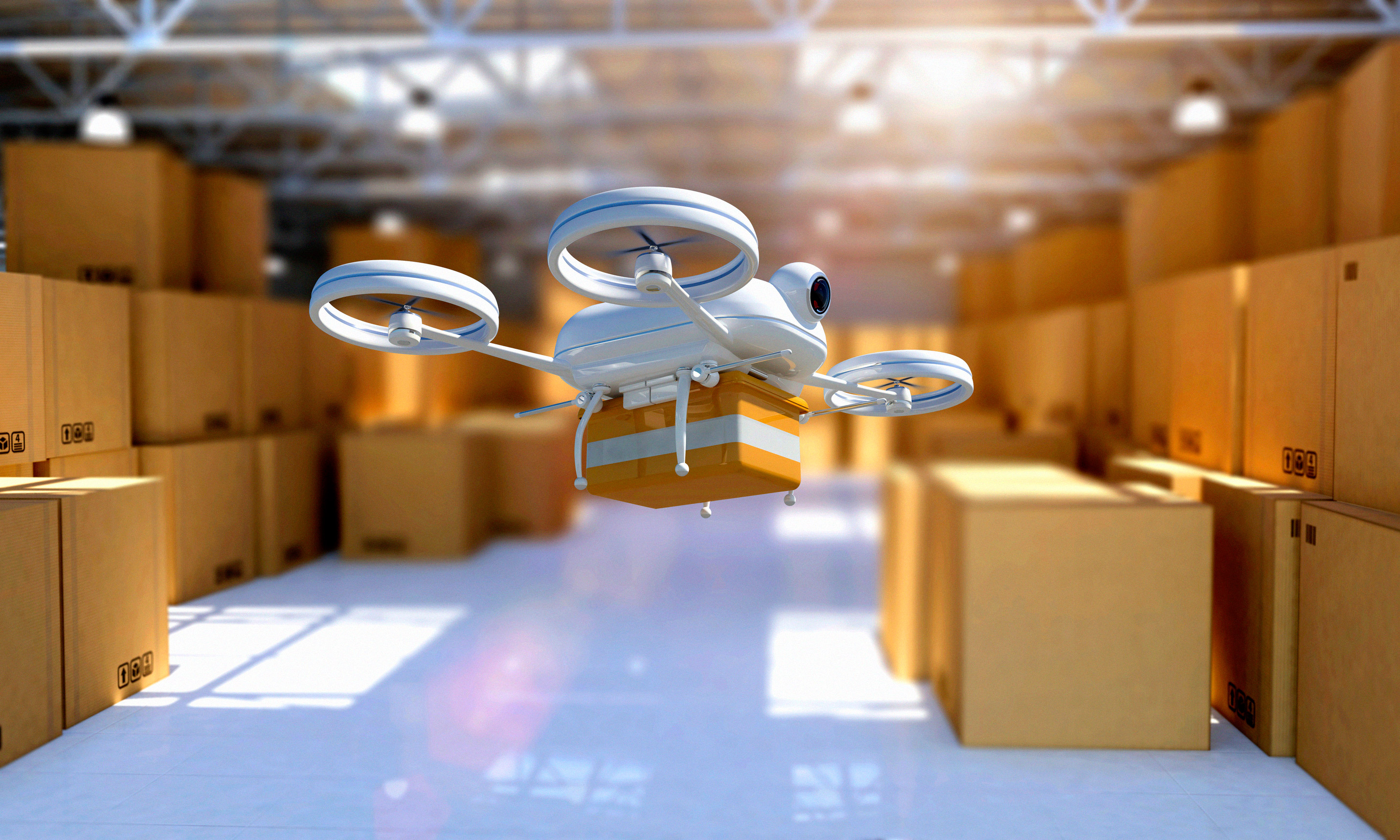 Drone-taking-off-from-warehouse-to-deliver-package